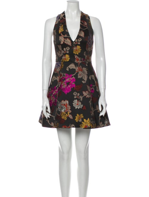 Alice + Olivia Floral Print Mini Dress Black