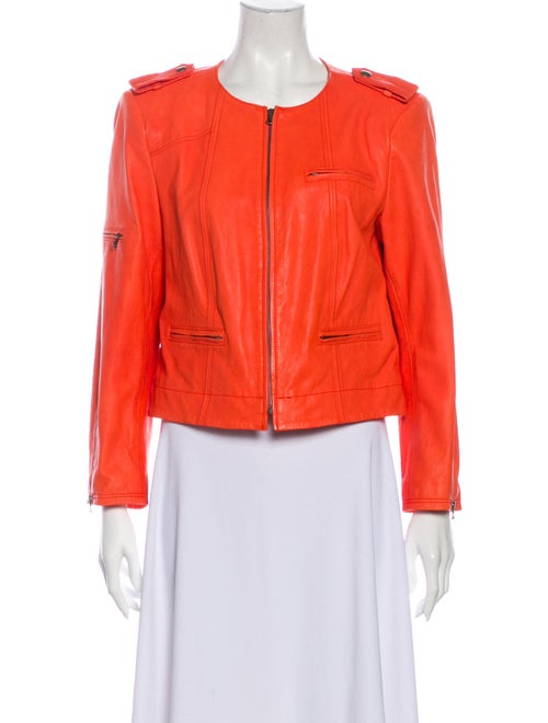 Alice + Olivia Lamb Leather Biker Jacket Orange