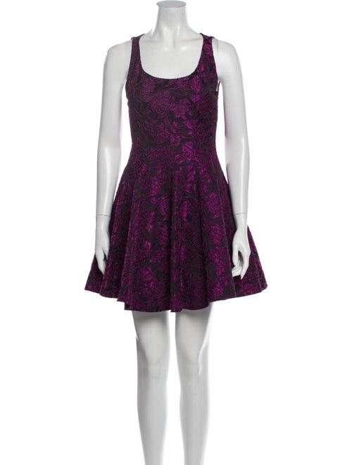 Alice + Olivia Floral Print Mini Dress Purple