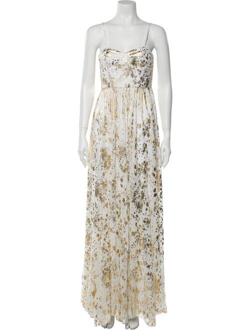 Alice + Olivia Floral Print Long Dress Gold