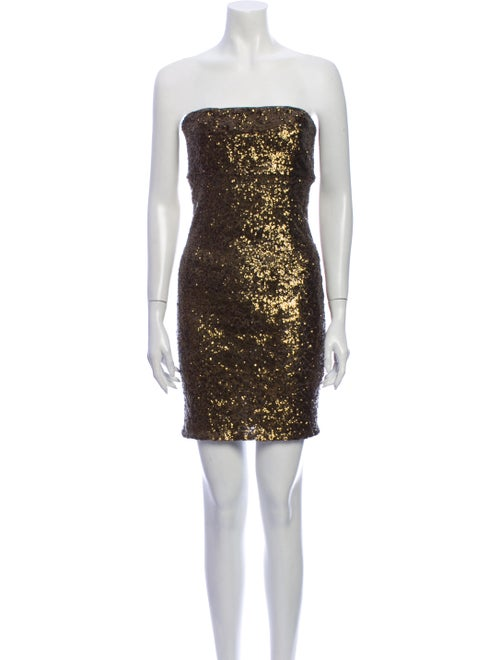 Alice + Olivia Strapless Mini Dress Gold