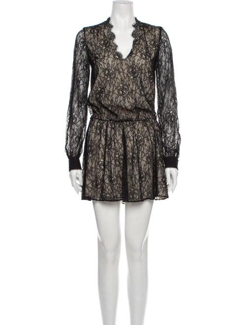 Alice + Olivia Lace Pattern Mini Dress Black