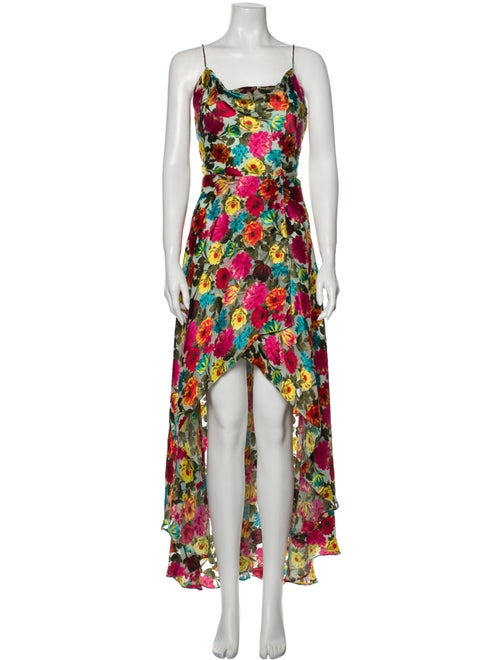 Alice + Olivia Floral Print Long Dress Red