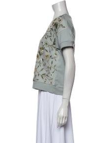 Alice + Olivia Floral Print Scoop Neck T-Shirt