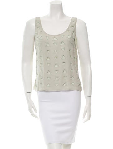 Alice + Olivia Silk Embellished Top None