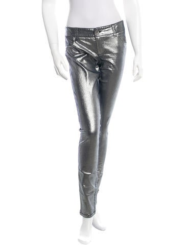 Metallic-Accented Skinny Jeans