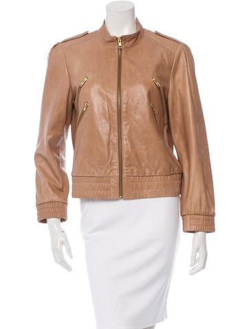 Alice + Olivia Leather Zip-Up Jacket