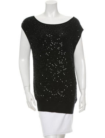 Alice + Olivia Embellished Wool Knit Top None