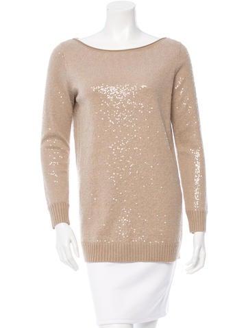 Alice + Olivia Sequin-Embellished Scoop Neck Sweater None