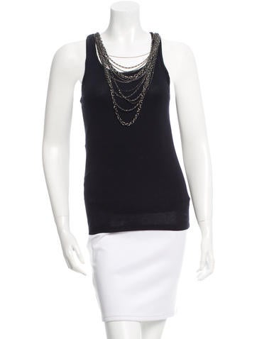 Alice + Olivia Chain-Accented Sleeveless Top None