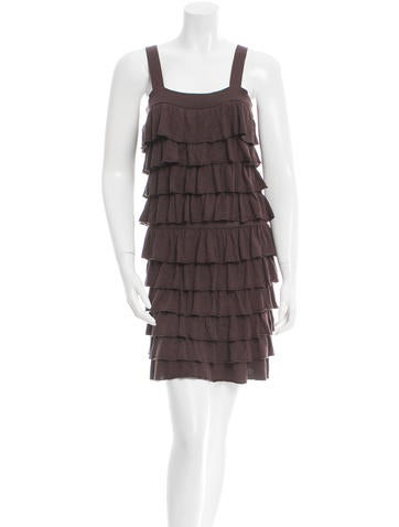 Alice + Olivia Ruffle-Accented Knee-Length Dress None