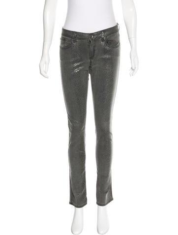 Alice + Olivia Snakeskin Print Straight-Leg Jeans