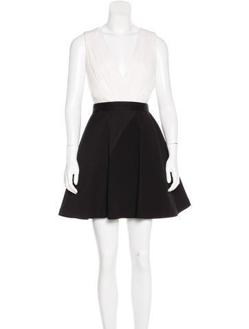 Alice + Olivia Silk-Trimmed A-Line Dress w/ Tags