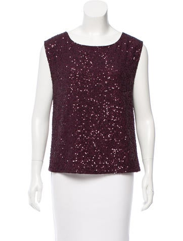 Alice + Olivia Sequined Silk Top None