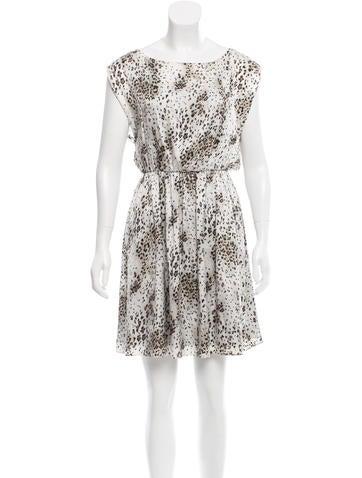 Alice + Olivia Lace-Accented Leopard Print Dress None