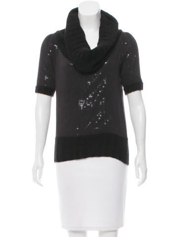 Alice + Olivia Sequined-Embellished Rib Knit Top None