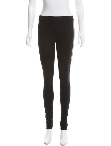 Alice + Olivia Skinny Leather-Trimmed Leggings