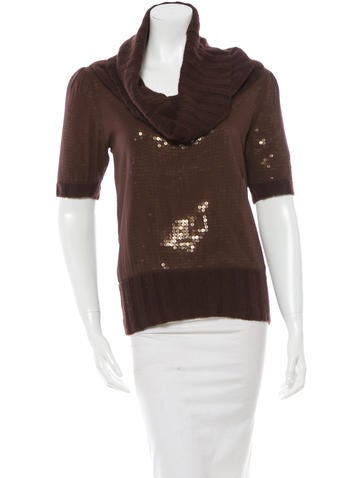 Alice + Olivia Silk Cowl Neck Top None