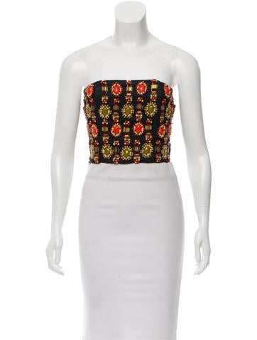 Alice + Olivia Embellished Silk Top w/ Tags None