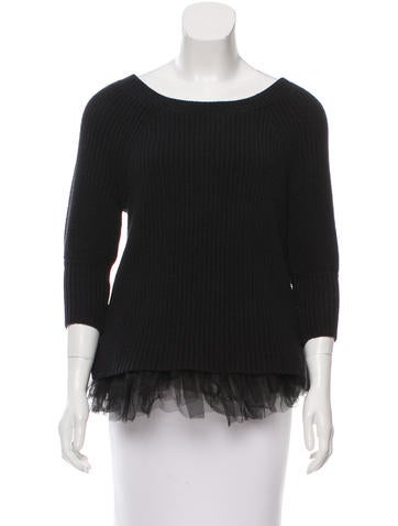 Alice + Olivia Tulle-Trimmed Rib Knit Sweater None
