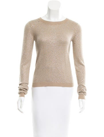 Alice + Olivia Embellished Knit Top None