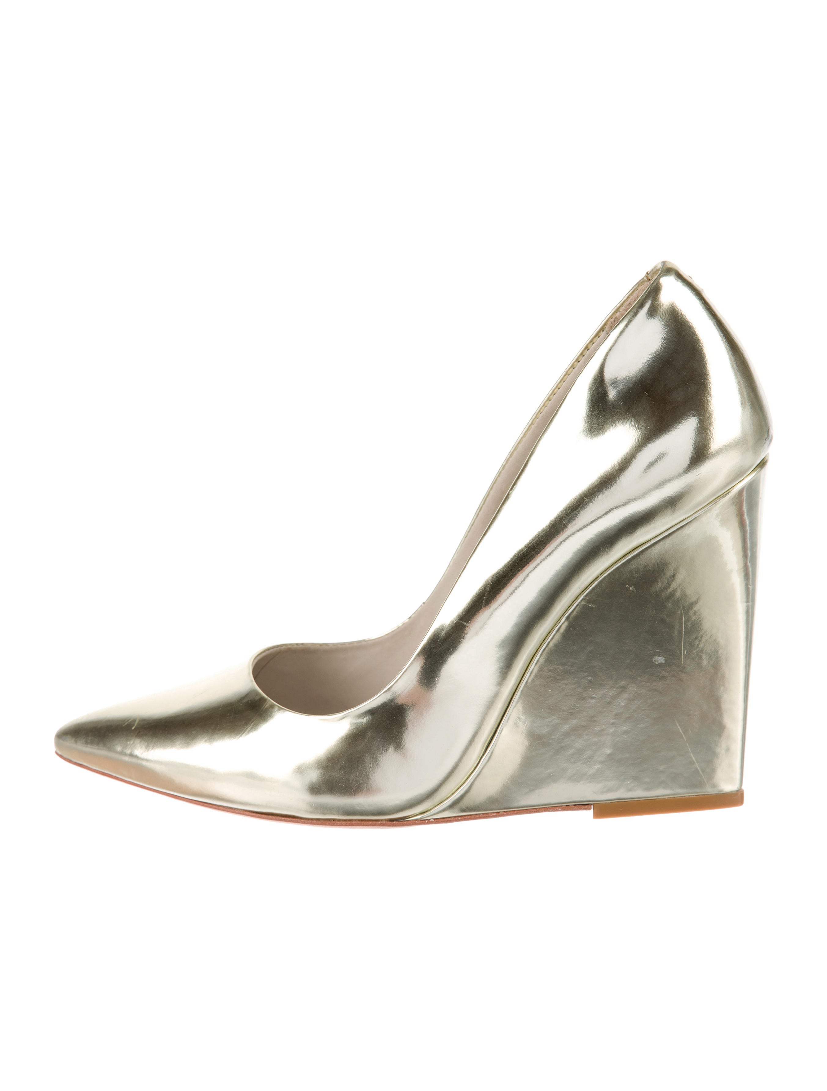 metallic pointed toe wedges shoes