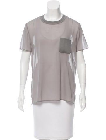 Alice + Olivia Chiffon Short Sleeve T-Shirt None