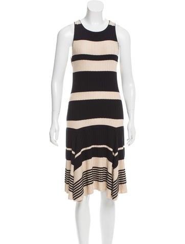 Alice + Olivia Striped Rib Knit Dress None