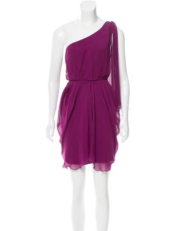 Alice + Olivia Silk One-Sleeve Mini Dress None