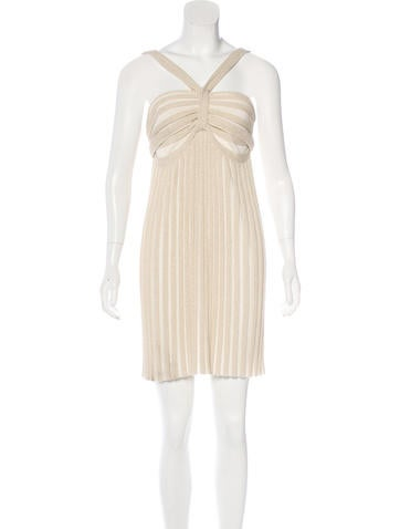 Alice + Olivia Rib-Knit Halter Dress None