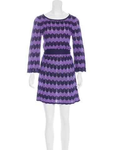 Alice + Olivia Chevron Knit Mini Dress None