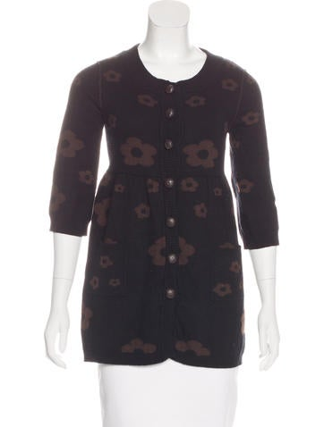 Alice + Olivia Knit Floral Print Cardigan None