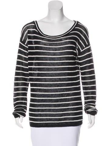 Alice + Olivia Linen Striped Sweater None