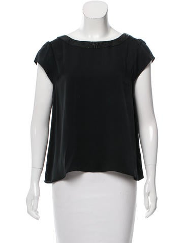 Alice + Olivia Leather-Accented Silk Top None