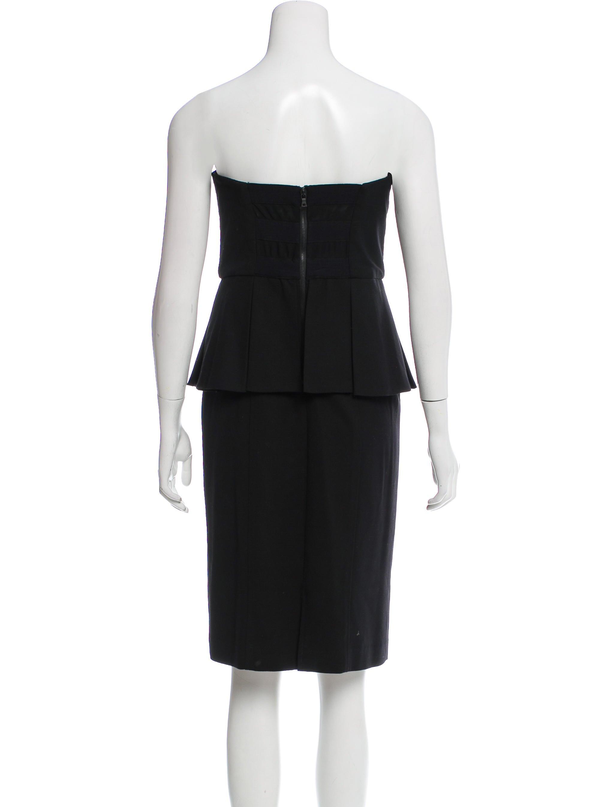 alice olivia strapless peplum dress clothing