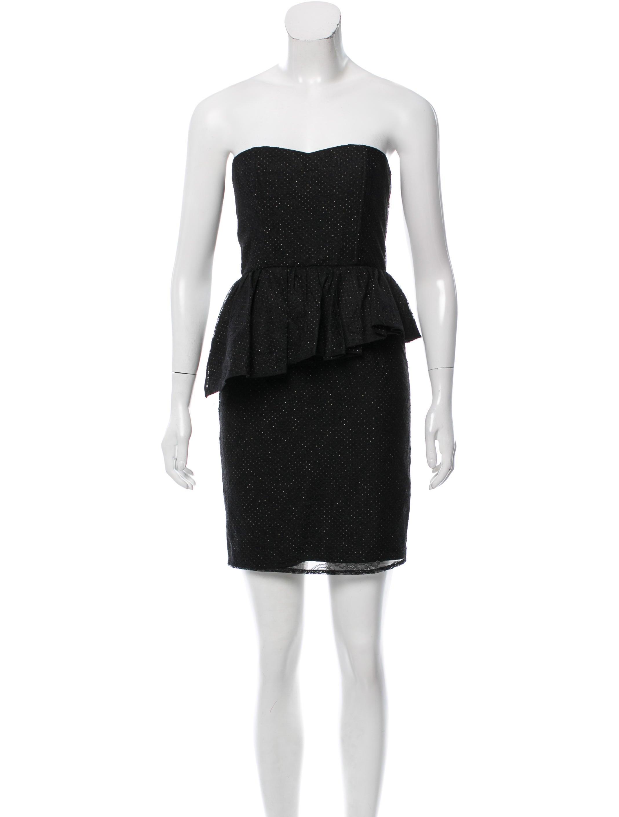 alice olivia strapless lace peplum dress dresses