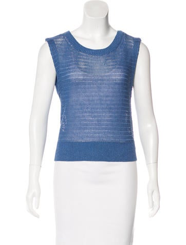 Alice + Olivia Linen-Blend Open Knit Top w/ Tags None