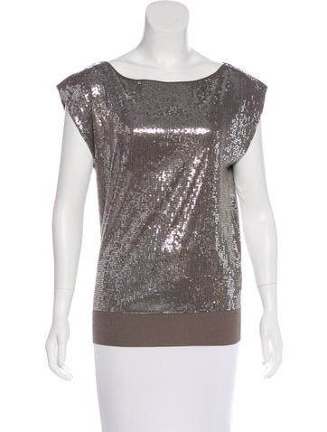 Alice + Olivia Sequin-Embellished Sleeveless Top None