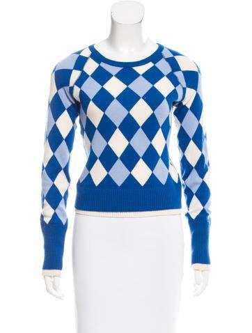 Alice + Olivia Geometric Intarsia Cashmere Sweater None