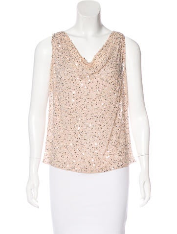 Alice + Olivia Embellished Silk Top None