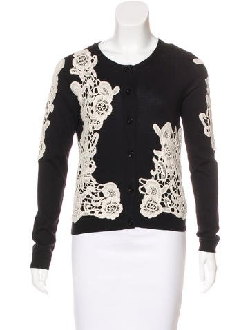Alice + Olivia Embroidered Knit Cardigan None