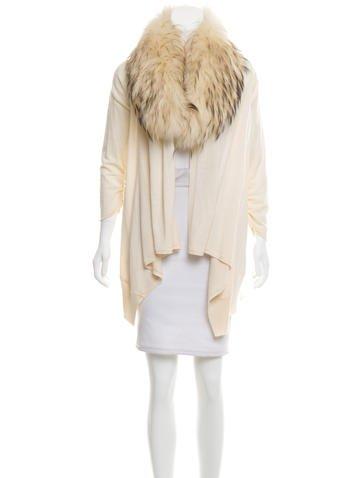 Alice + Olivia Fur-Trimmed Wool Cardigan None