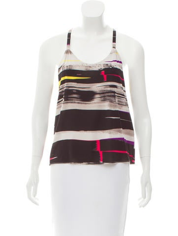 Alice + Olivia Striped Silk Sleeveless Top None