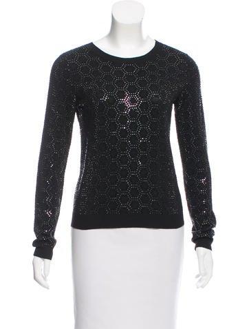 Alice + Olivia Embellished Scoop Neck Sweater None