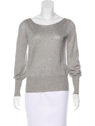 Alice + Olivia Long Sleeve Metallic Sweater None