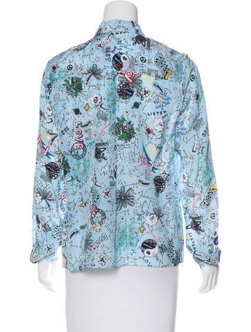Printed Silk Button-Up Rop