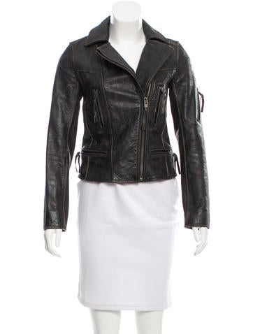 AllSaints Aged Leather Jacket None