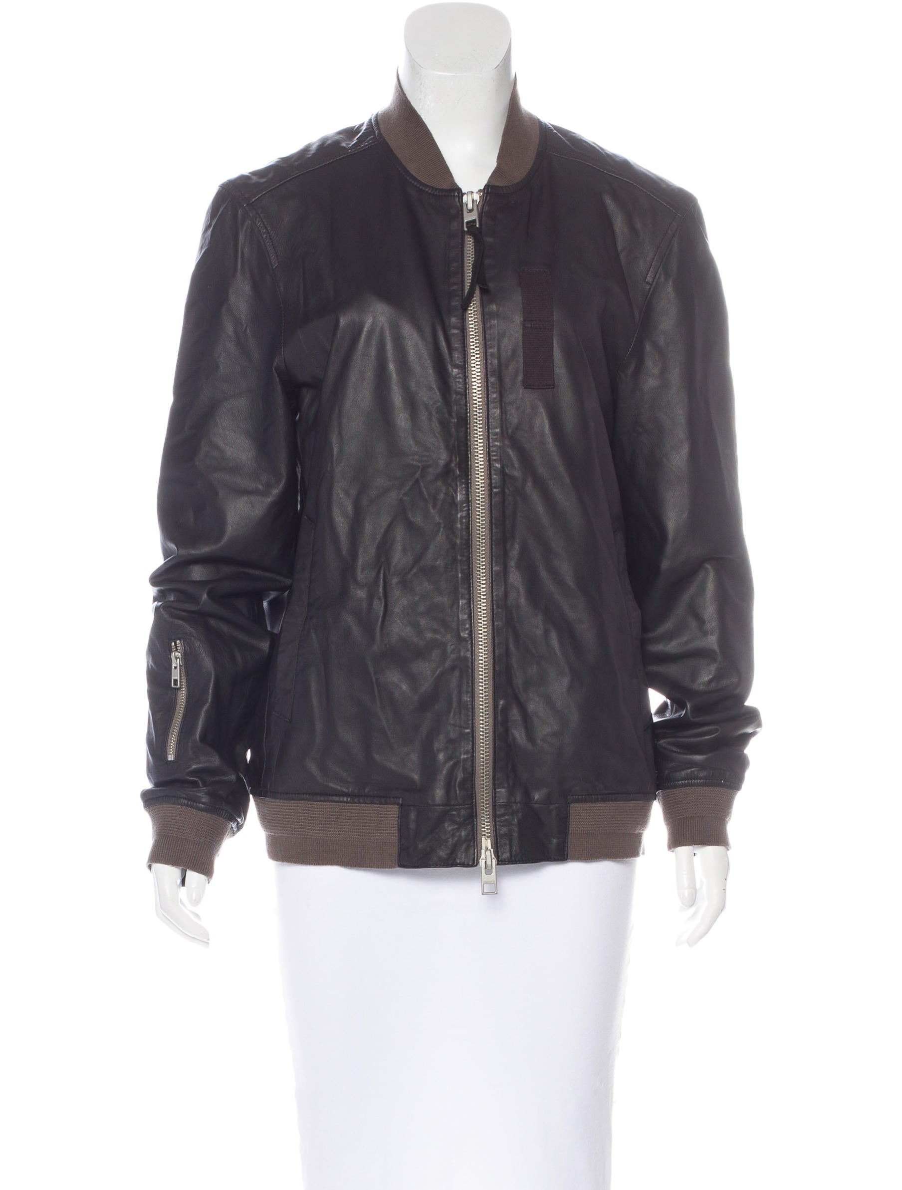 AllSaints Leather Longline Jacket - Clothing - WAQ20361   The RealReal