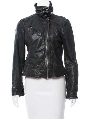 AllSaints Leather Zip-Up Jacket None