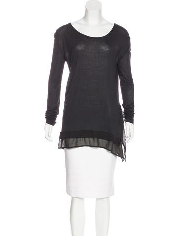 AllSaints Sheer-Trimmed Long Sleeve Top None